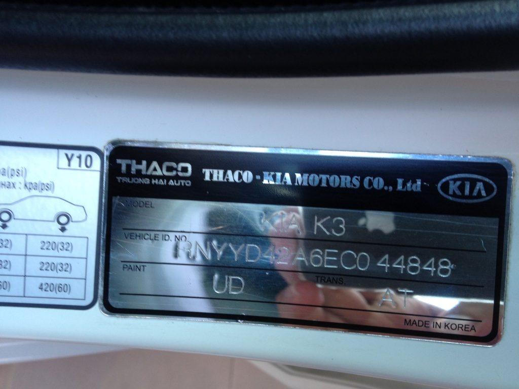 vị trí số khung số máy xe ô tô